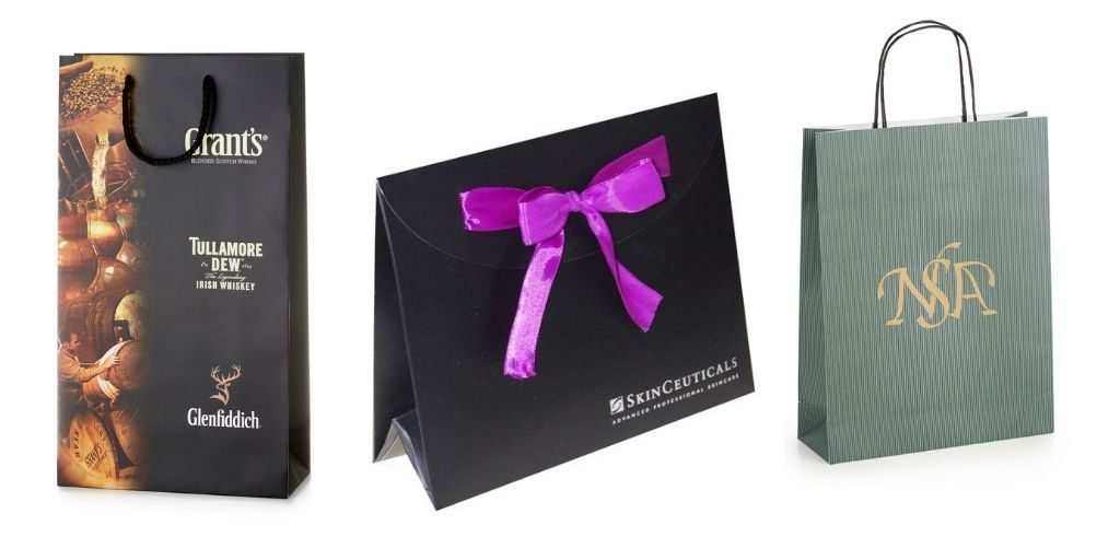 Printed paper bags with brand logos from Luxury Paper Bags