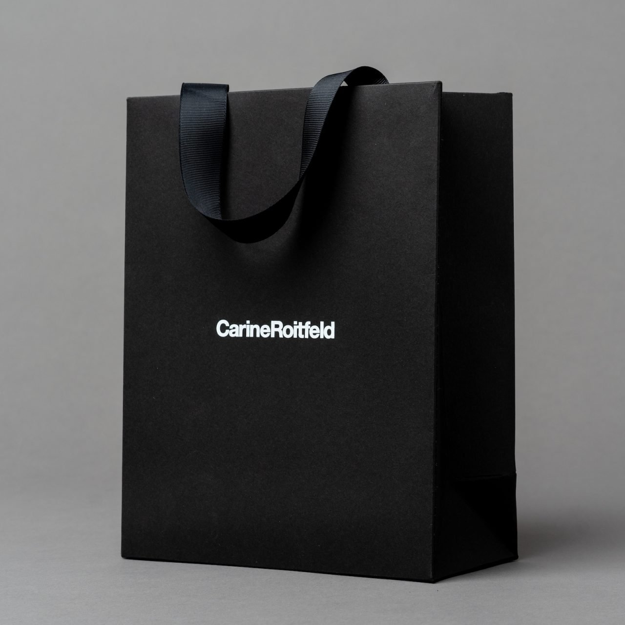Printed Recycled Paper Bag with Ribbon Handle